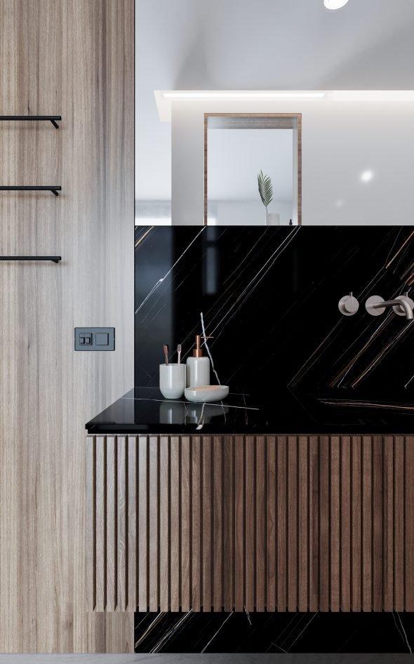 lavabo bagno in noce e marmo noir
